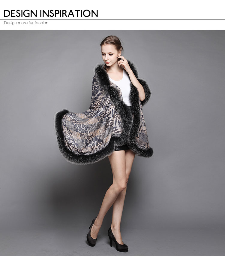 Wowen's Printed Cape with Fully Real Fox Fur triming 1
