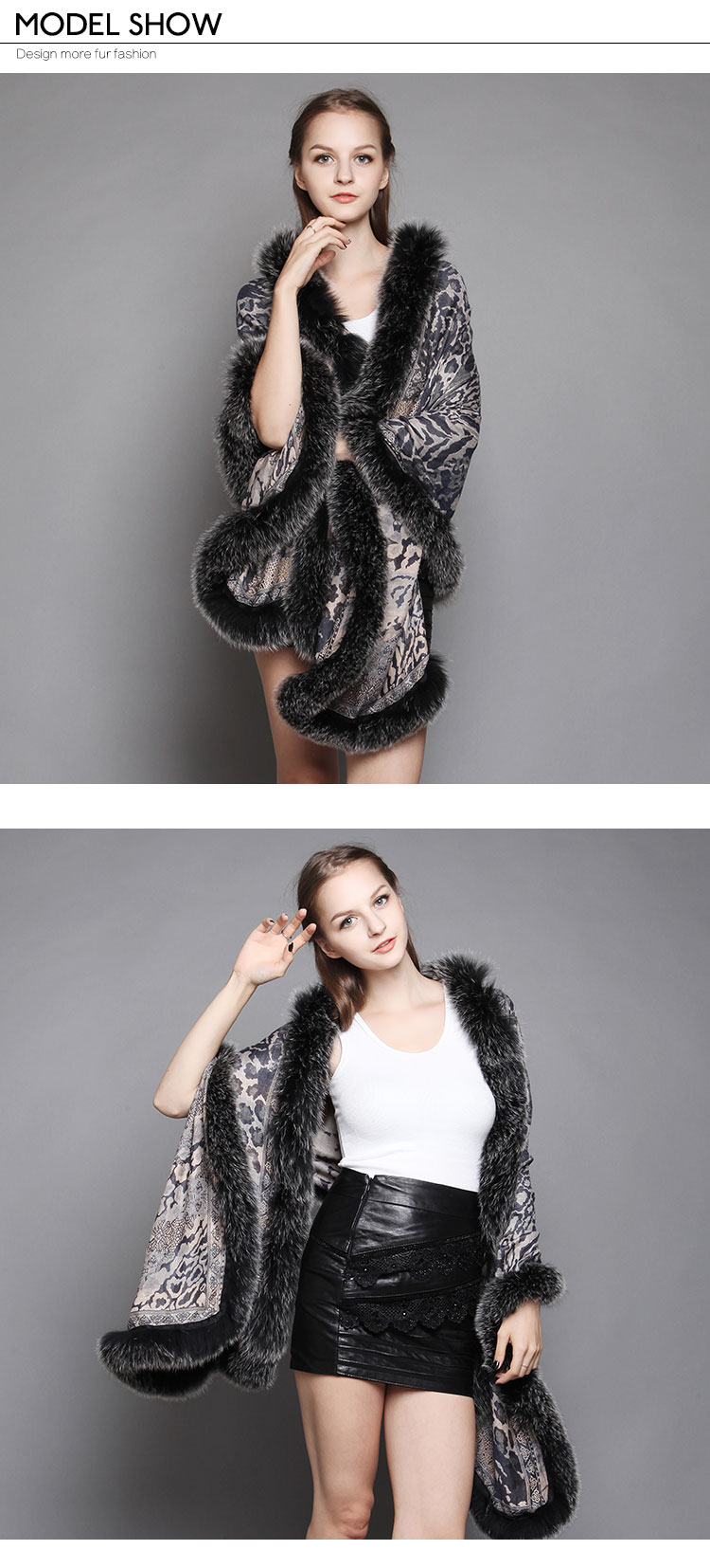 Wowen's Printed Cape with Fully Real Fox Fur triming 4
