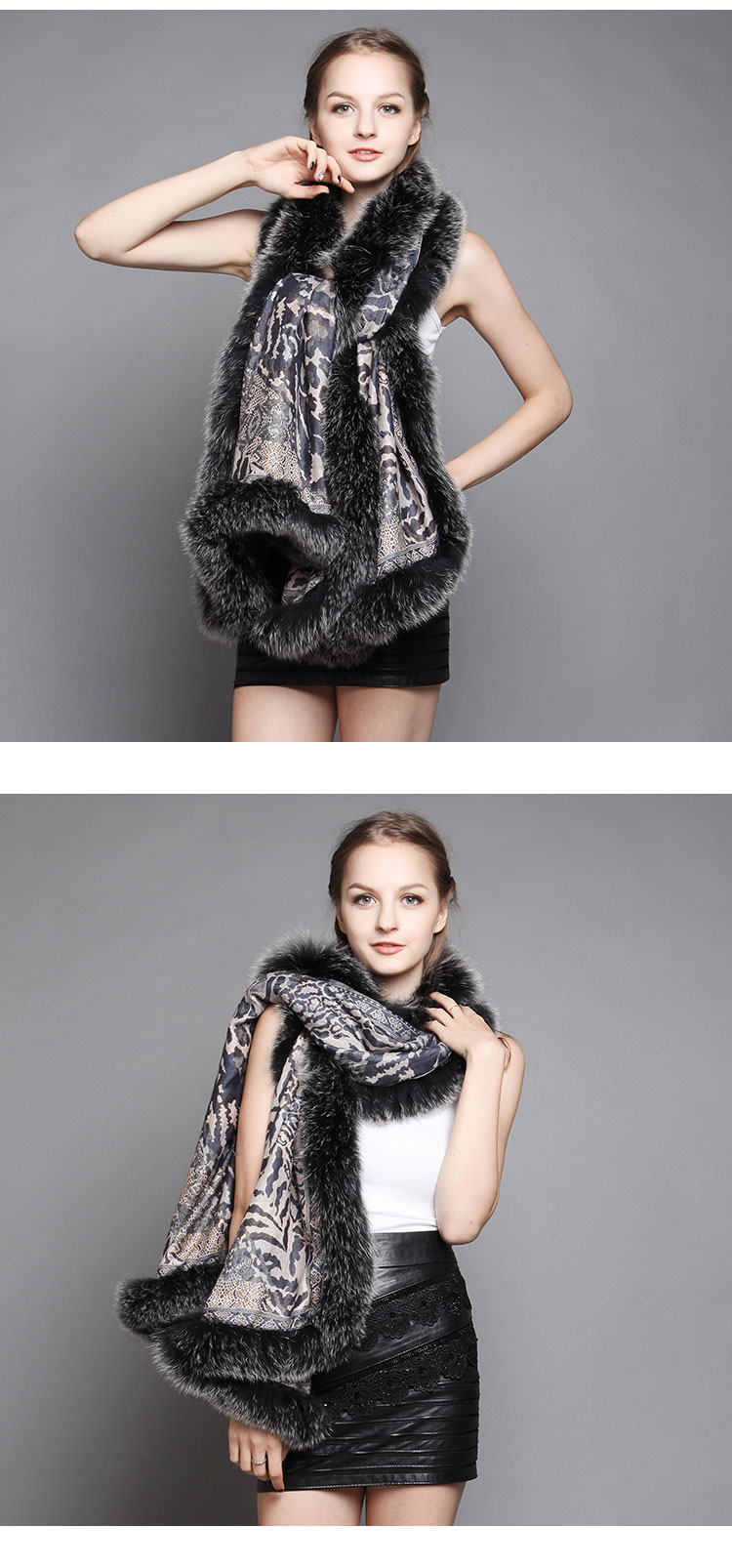 Wowen's Printed Cape with Fully Real Fox Fur triming 6