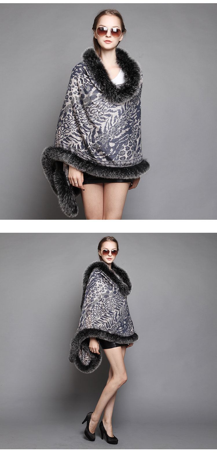 Wowen's Printed Cape with Fully Real Fox Fur triming 7
