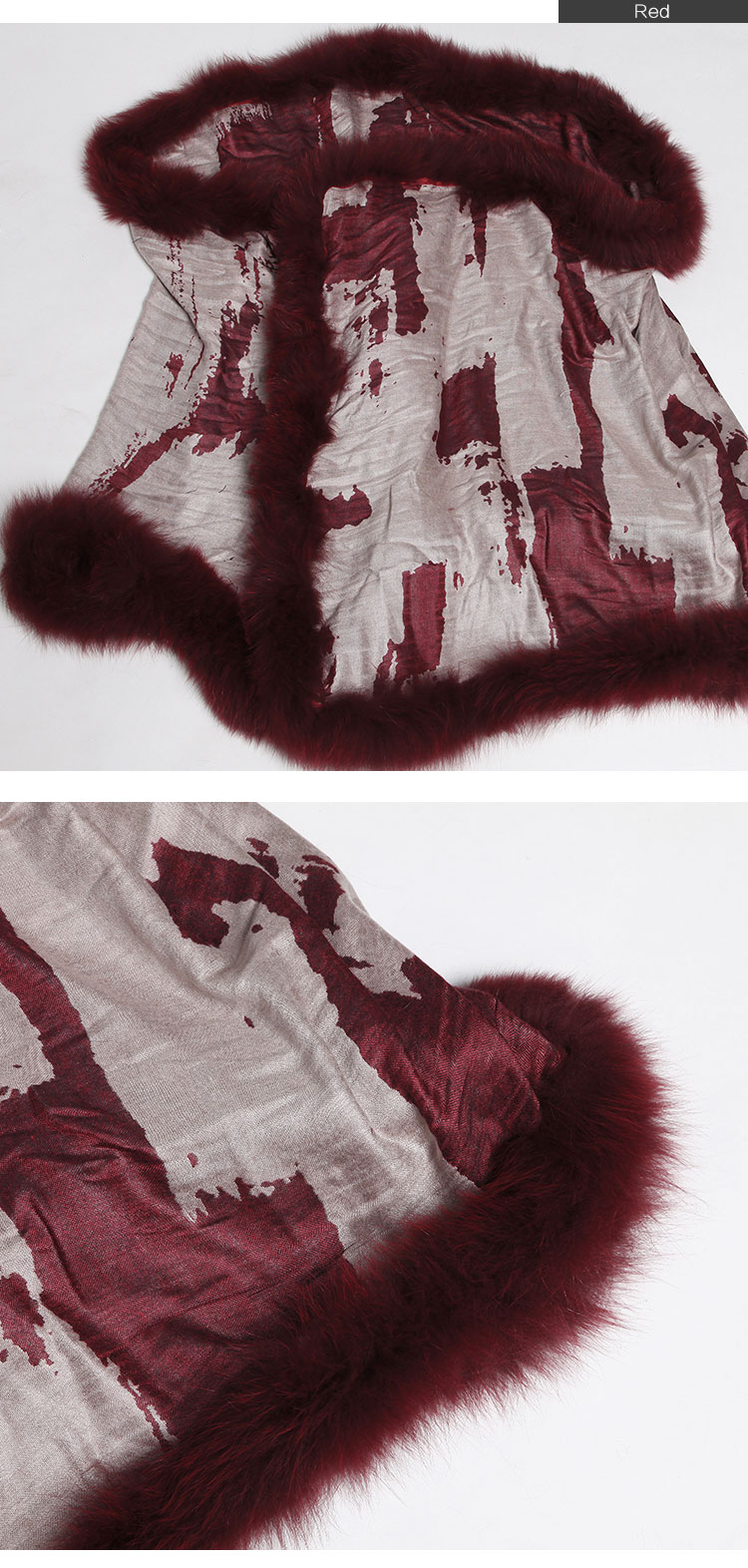 Wowen's Printed Cape with Fully Real Fox Fur triming 10