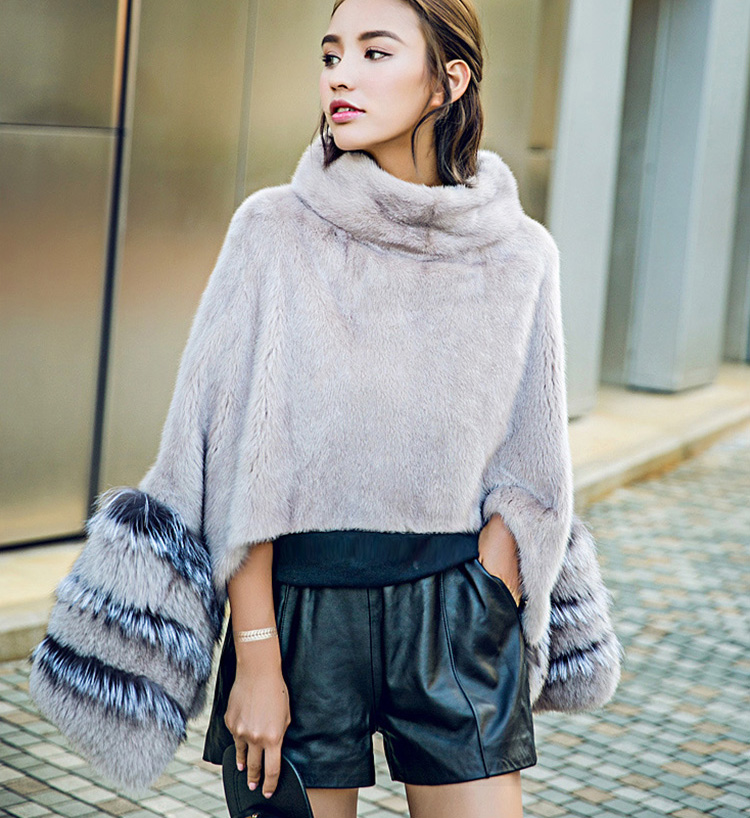 Mink Fur Pullover Poncho with Detachable Silver Fox Fur Cuff 755 Gray Details 1