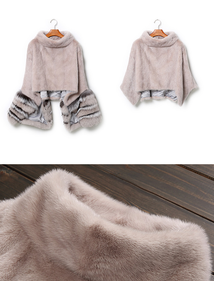 Mink Fur Pullover Poncho with Detachable Silver Fox Fur Cuff 755 Gray Details 5