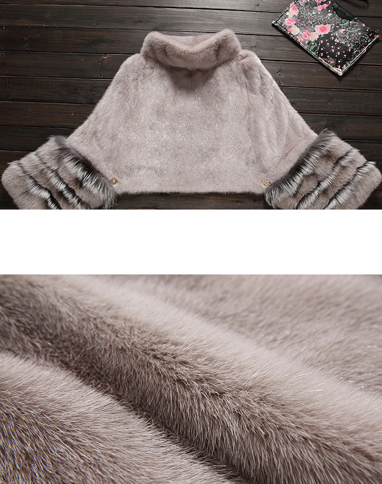 Mink Fur Pullover Poncho with Detachable Silver Fox Fur Cuff 755 Gray Details 6