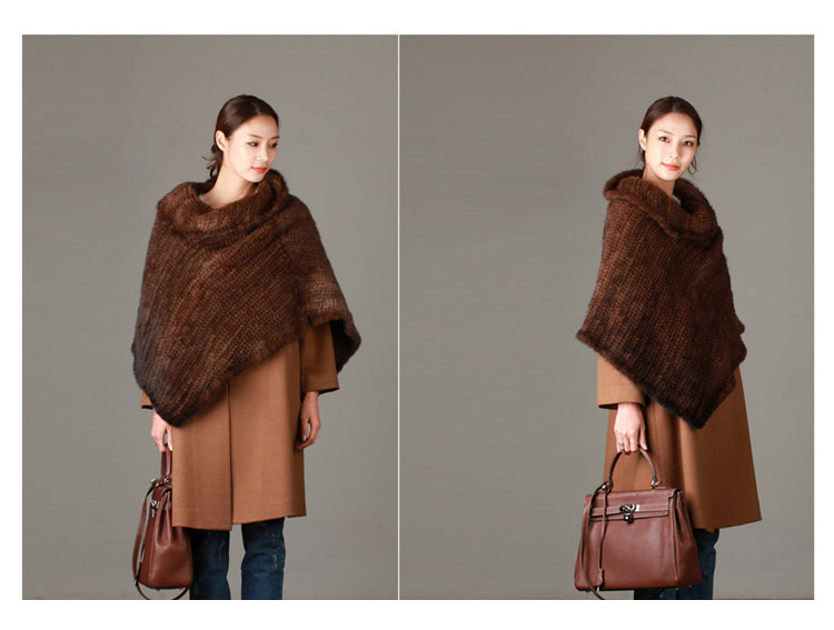 Knitted Mink Fur Poncho 843 Details 01