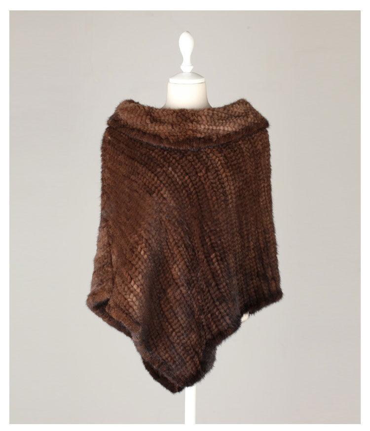 Knitted Mink Fur Poncho 843 Details 02