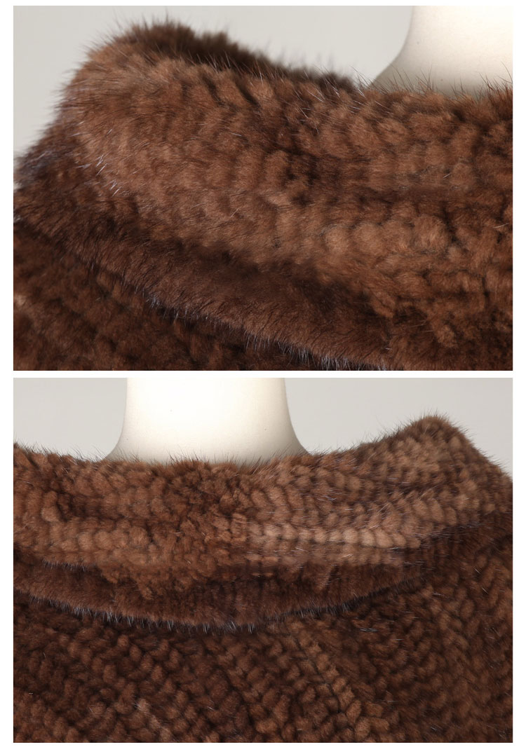 Knitted Mink Fur Poncho 843 Details 04