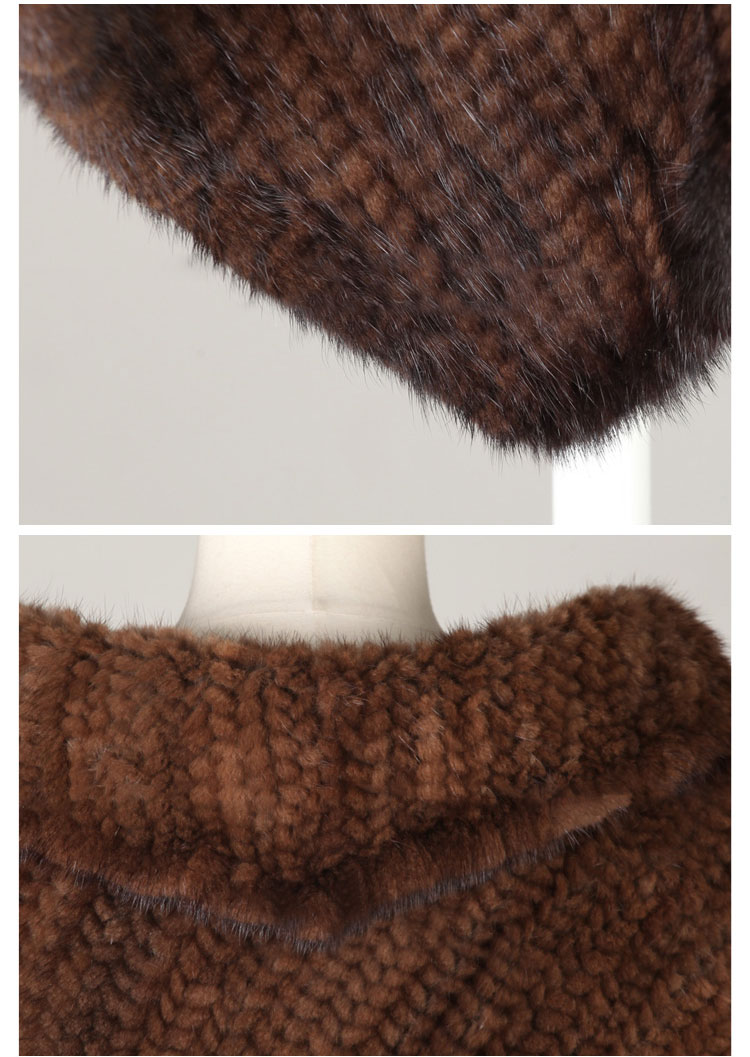 Knitted Mink Fur Poncho 843 Details 05