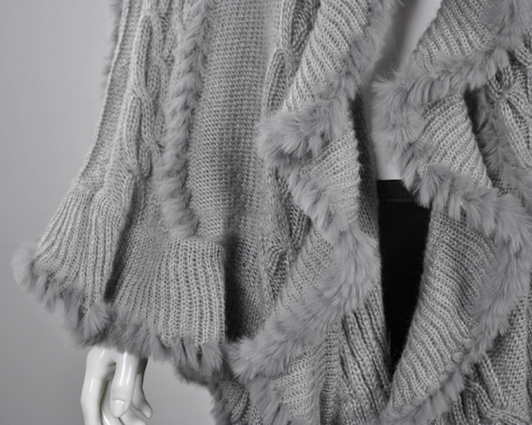 Rabbit Fur Knitted Cape With Raccoon Fur Trimming 716 Details 4