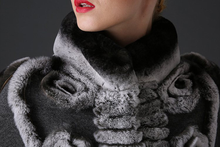 Cashmere Cape with Rex Rabbit Fur Trim 781 Details 1