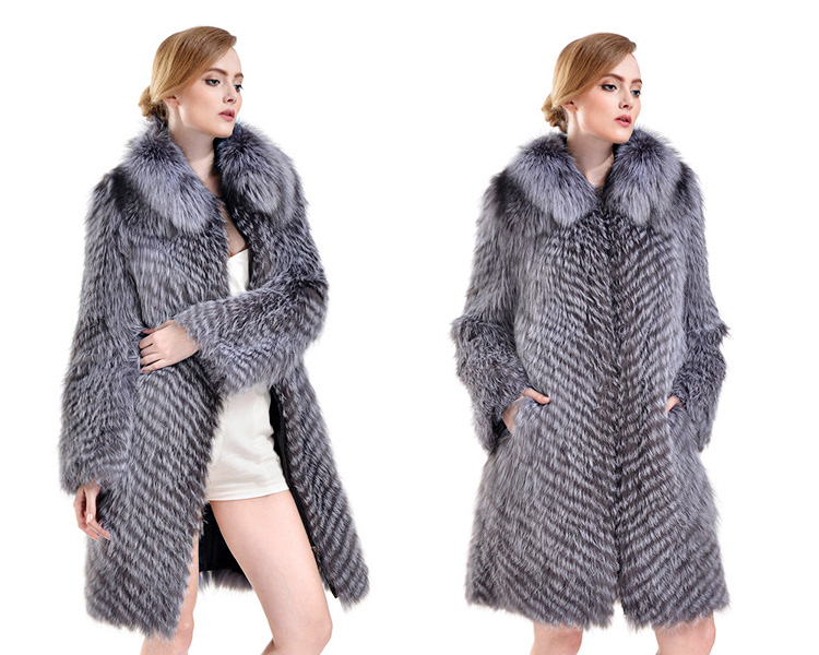 Silver Fox Fur Coat 731 Details 1