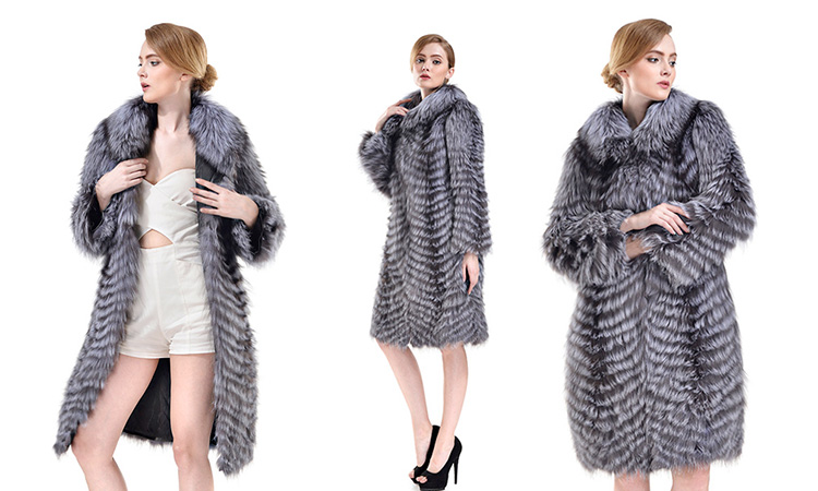 Silver Fox Fur Coat 733 Details 1