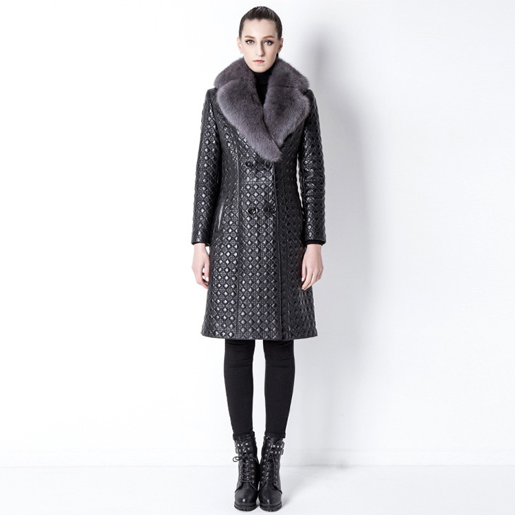 Quilted Sheep Leather Coat with Fox Fur Collar 798 Details 1