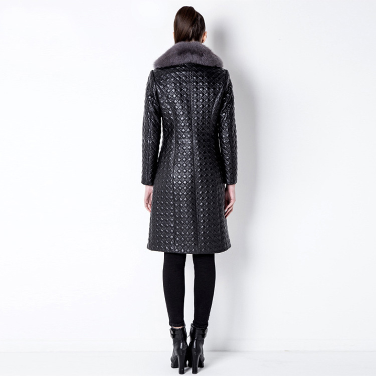 Quilted Sheep Leather Coat with Fox Fur Collar 798 Details 2