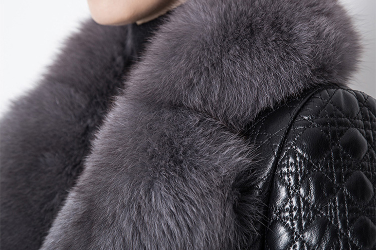 Quilted Sheep Leather Coat with Fox Fur Collar 798 Details 3