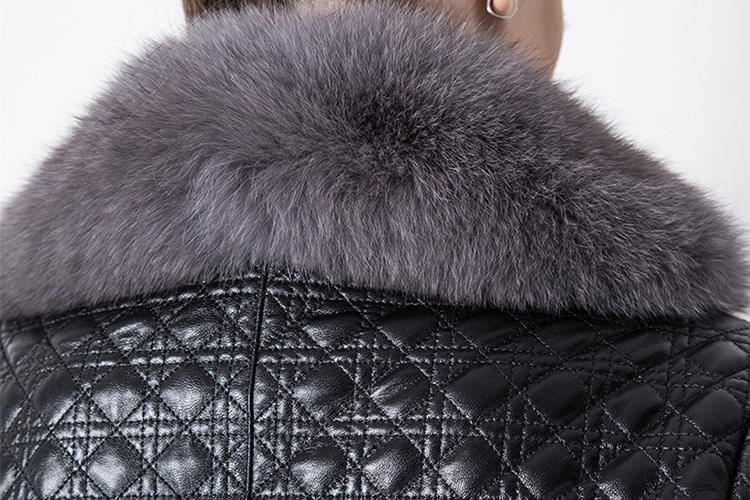 Quilted Sheep Leather Coat with Fox Fur Collar 798 Details 4