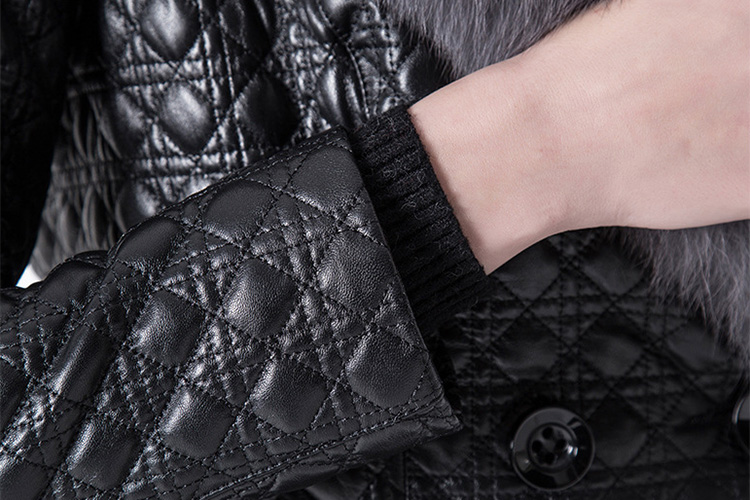 Quilted Sheep Leather Coat with Fox Fur Collar 798 Details 6