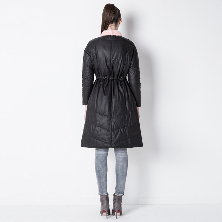 Sheepskin Leather Down-Filled Coat with Mink Fur Collar 800 Details 2