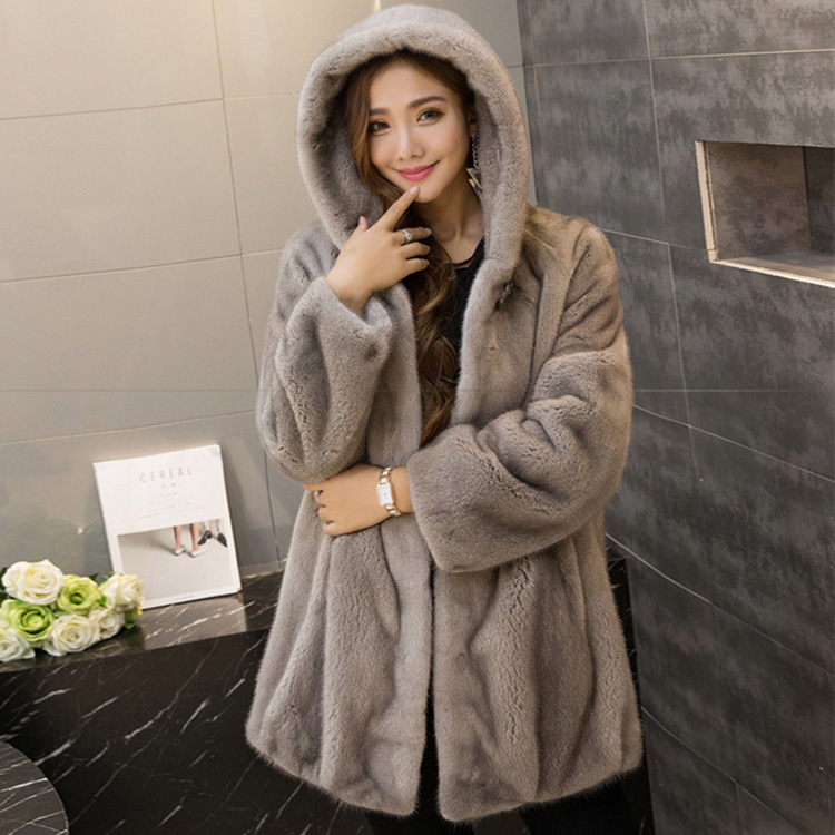 Hooded Mink Fur Coat 751 Details 1