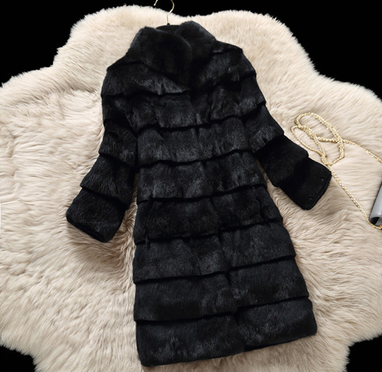 Sheared Rabbit Fur Coat 723 Details 12