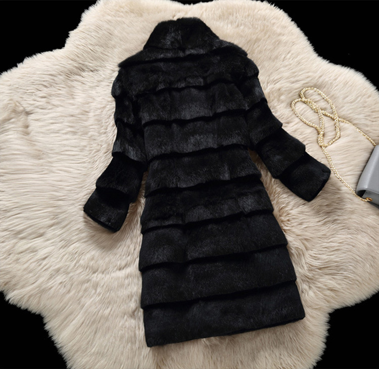 Sheared Rabbit Fur Coat 723 Details 13