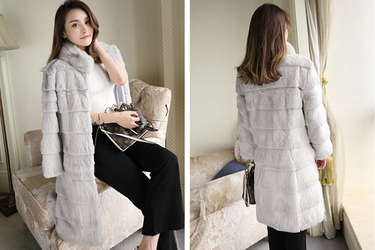 Sheared Rabbit Fur Coat 723 Details 6