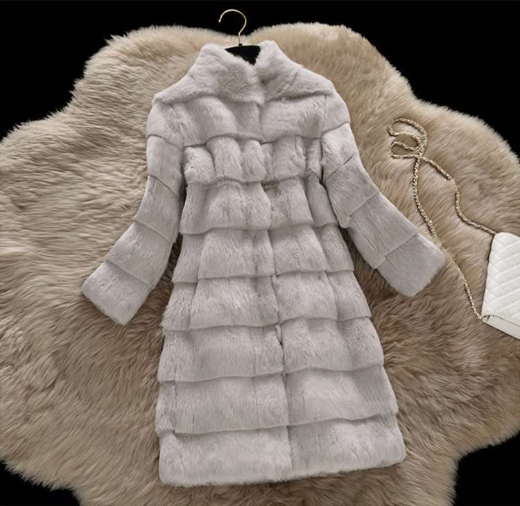 Sheared Rabbit Fur Coat 723 Details 7