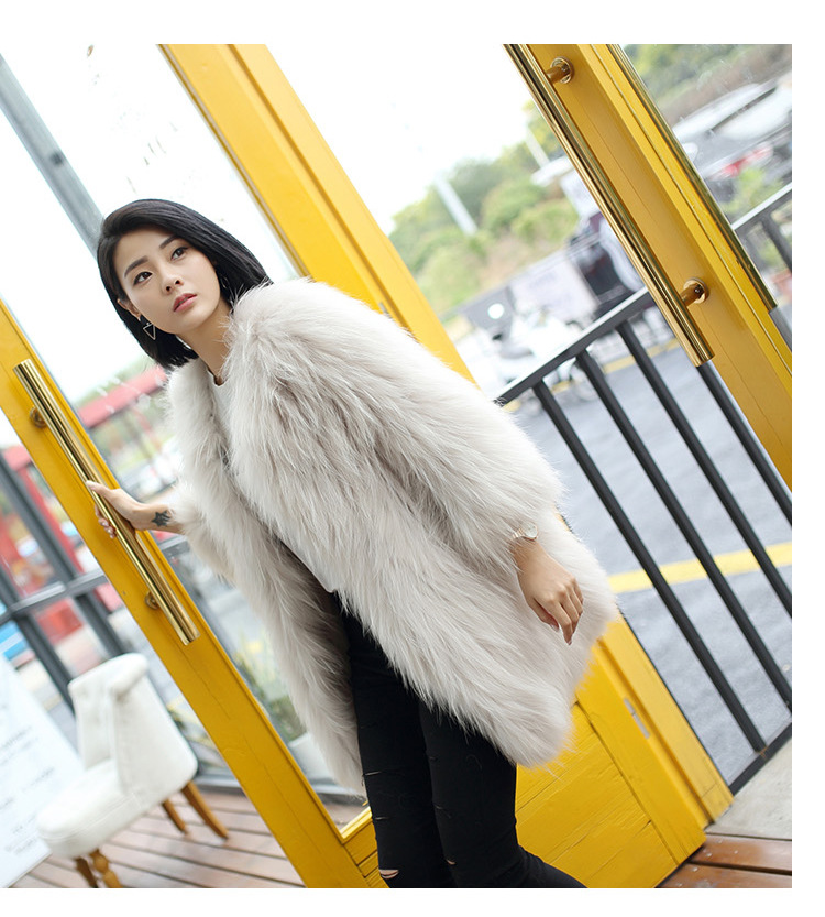 Knitted Raccoon Fur Coat 772 Details 11