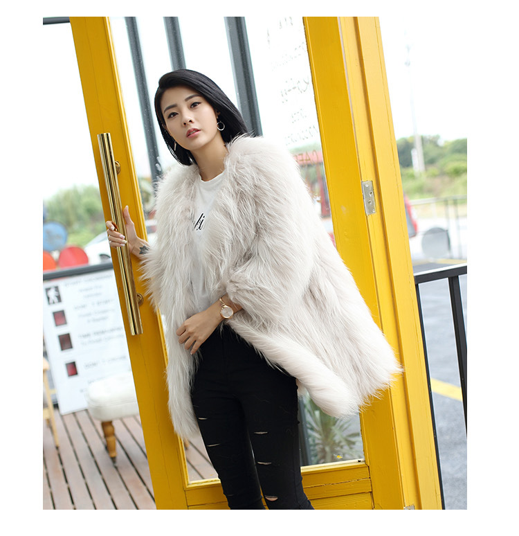 Knitted Raccoon Fur Coat 772 Details 12