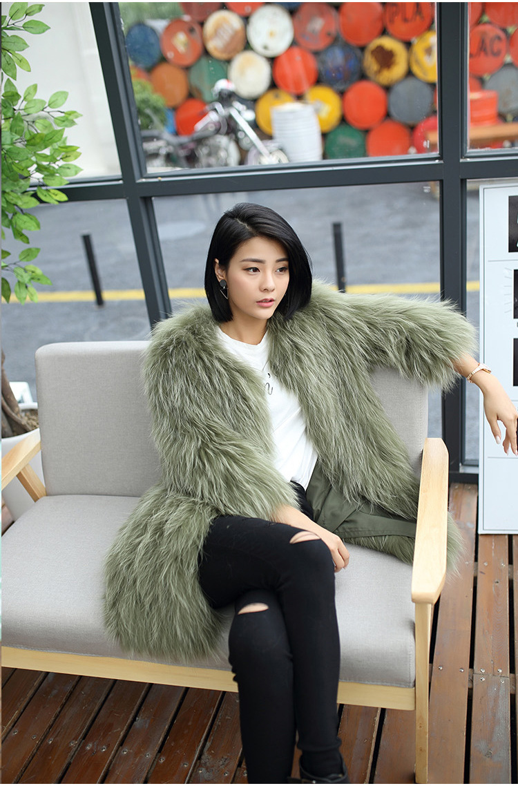 Knitted Raccoon Fur Coat 772 Details 14