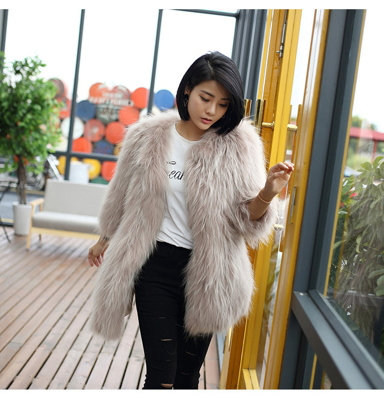 Knitted Raccoon Fur Coat 772 Details 9