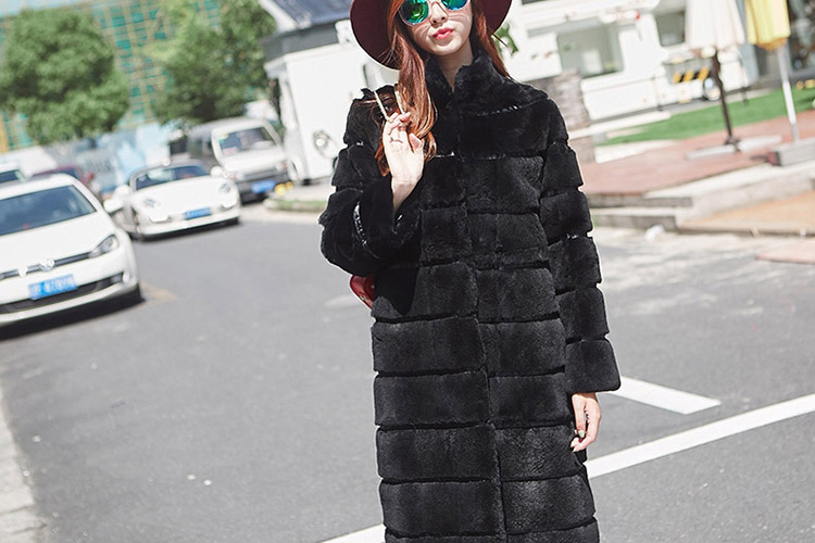 Sheared Rex Rabbit Fur Long Coat 719 Details 1