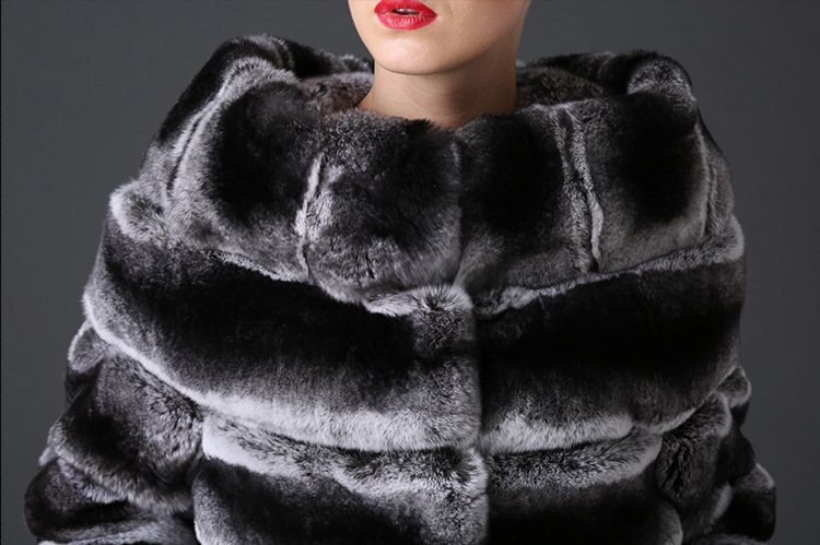 Rex Rabbit Fur Coat with Chinchilla Look 777 Details 1