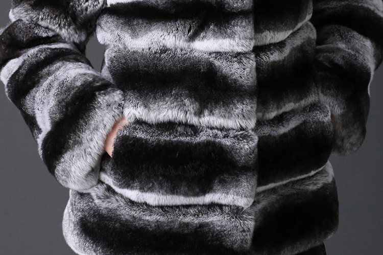 Rex Rabbit Fur Coat with Chinchilla Look 777 Details 2