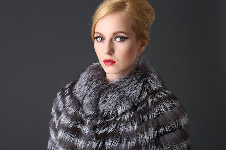 Rex Rabbit Fur Coat with Silver Fox Fur Trim 780 Details 1