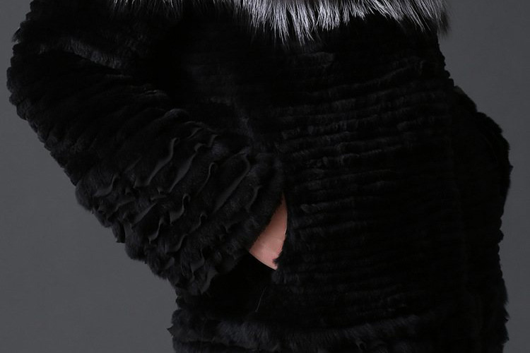 Rex Rabbit Fur Coat with Silver Fox Fur Trim 780 Details 3