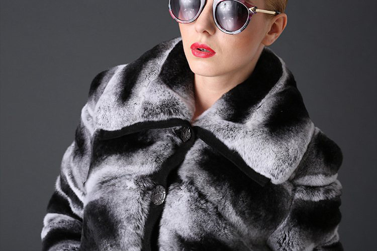Rex Rabbit Fur Coat with Chinchilla Look 787 Details 1