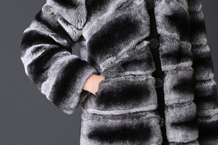 Rex Rabbit Fur Coat with Chinchilla Look 787 Details 2