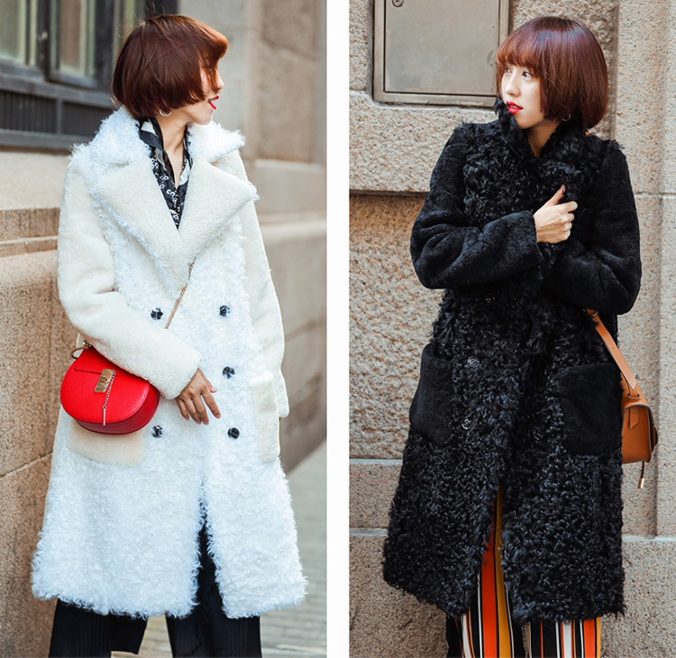 Full Length Shearling Sheep Fur Coat 705 Details 1