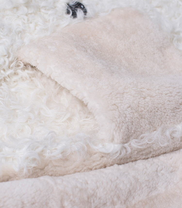 Full Length Shearling Sheep Fur Coat 705 Details 4