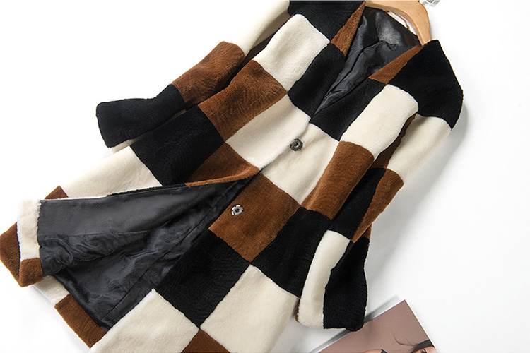 3-4 Length Plaid Shearling Lambwool Coat 712 Details 1