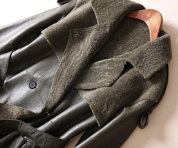 Welted Shearling Sheepskin Coat 747 Details 13