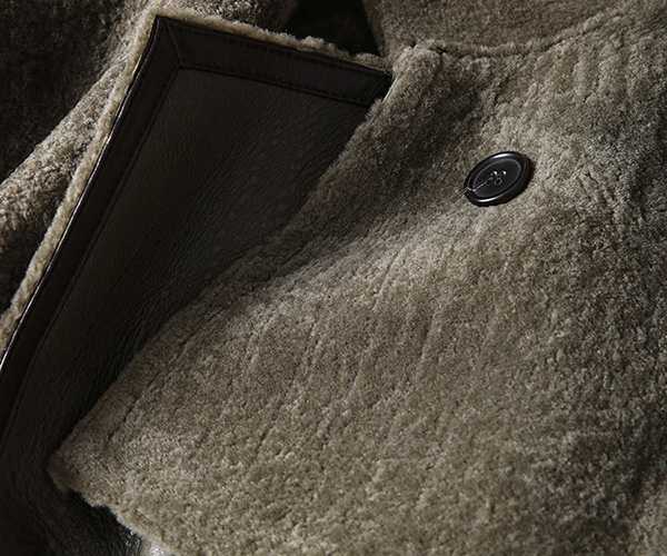 Welted Shearling Sheepskin Coat 747 Details 14