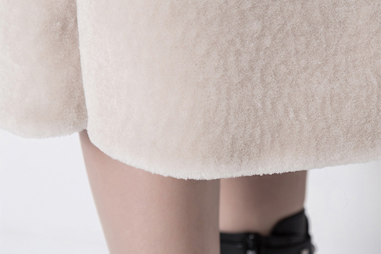 Belt Shearling Sheepskin Coat 803 Details 7