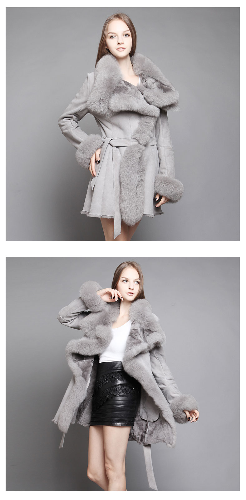 Shearling Sheepskin Coat with Fox Fur trim