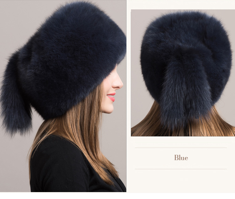 Fox Fur Hat 854 Blue 3
