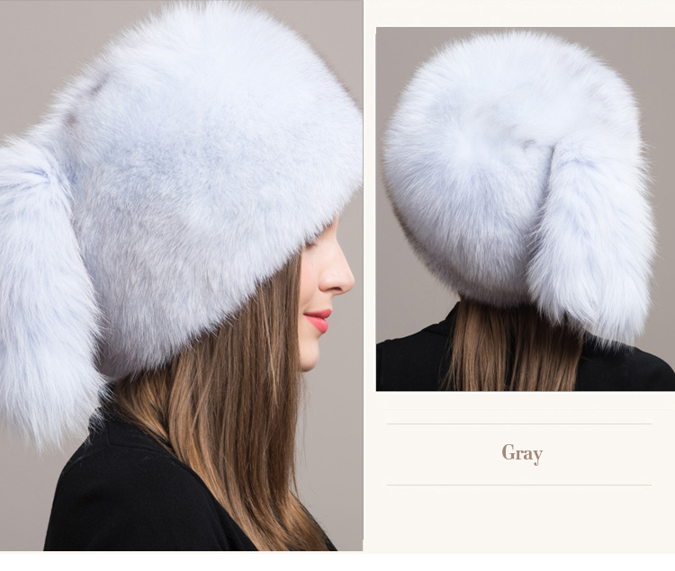Fox Fur Hat 854 Gray 3