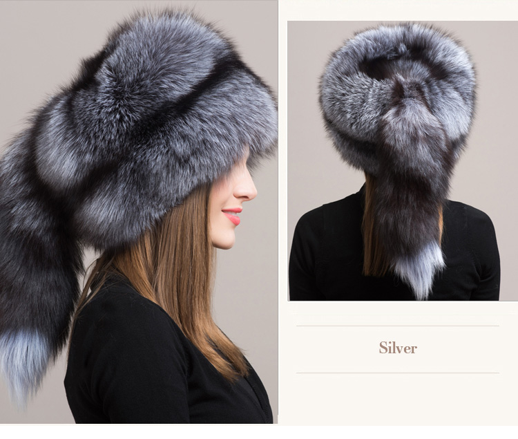 Fox Fur Hat 854 Silver 4