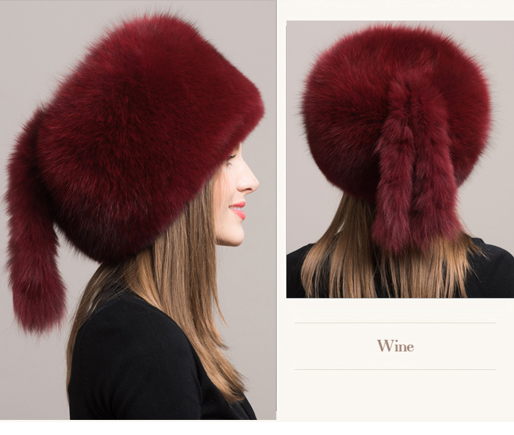Fox Fur Hat 854 Wine 3