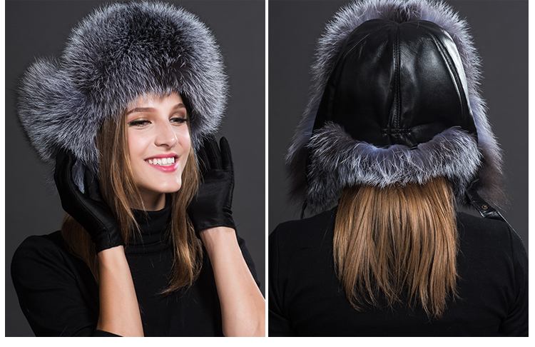 Silver Fox Fur Trapper Hat 856 Details 1